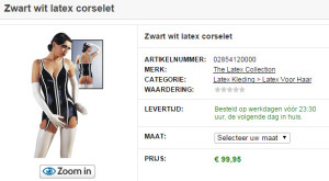 Zwart wit latex corselet